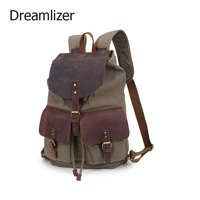 $112.13- 2016 New Design Women Canvas Backpacks School Bags Students Backpack Ladies Women'S Travel Bags Leather Package Female