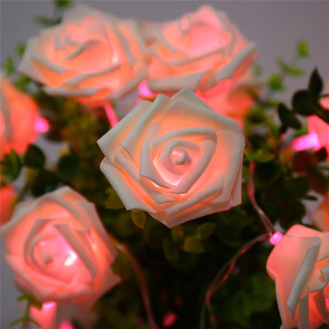 $10.13- 9 Colors Fashion Holiday Lighting 20 Led Novelty Rose Flower Fairy String Lights Wedding Garden Party Valentine'S Day Decoration