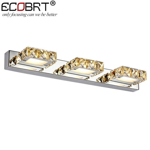 ECOBRT Modern 9W 46cm long led wall lights in bathroom Square Crystal Sconce Mirror Lamps 3-lights AC110V /220V