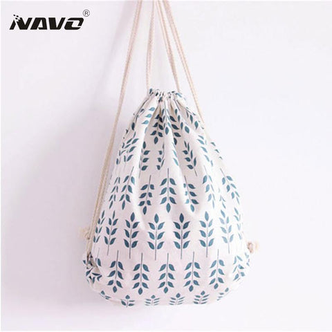 $11.21- Fresh Style Drawstring Backpack Women Bag Printing Backpack Summer Beach Bag Girls Children School Bag Tote Sacks String Bags