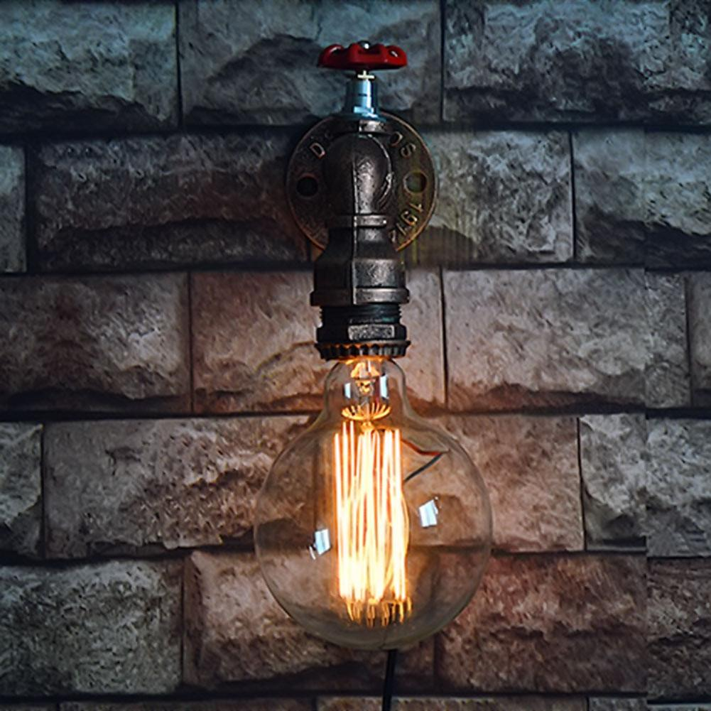 $41.76- Single Head Retro Rustic Water Pipe Wall Lamp Vintage Fixtures Loft Style Industrial Edison Wall Sconce