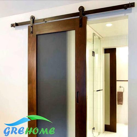 $204.00- 4.9Ft/6Ft/6.6Ft Carbon Steel Black Rustic Sliding Barn Wood Door Hardware Sliding Barn Track Kit