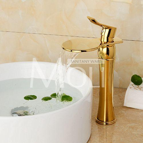 $127.45- Rose Gold Black Bathroom Faucet Deck Mounted Solid Brass Vessel Sink Waterfall Tap Single Holder Mixer