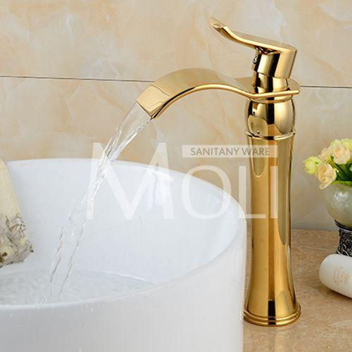 $123.17- Rose Gold Black Bathroom Faucet Deck Mounted Solid Brass Vessel Sink Waterfall Tap Single Holder Mixer