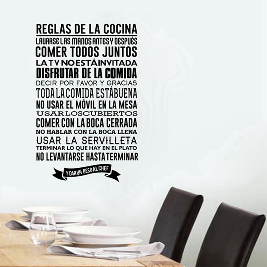Buy Spanish Kitchen Rules Wall Stickers Diy Vinyl Wall Decals