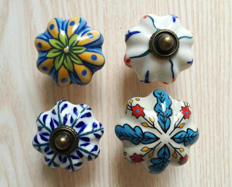 $26.14- 5Pcs Vintage Look Flower Ceramic Knobs Door Handle Cabinet Drawer Cupboard Pull
