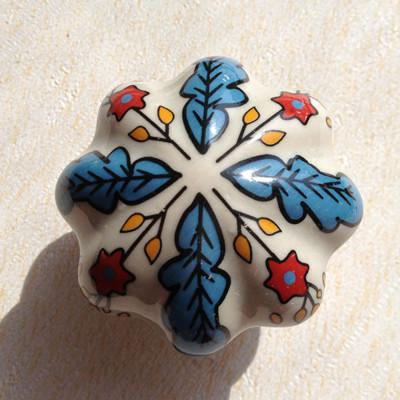$27.72- 5Pcs Vintage Look Flower Ceramic Knobs Door Handle Cabinet Drawer Cupboard Pull