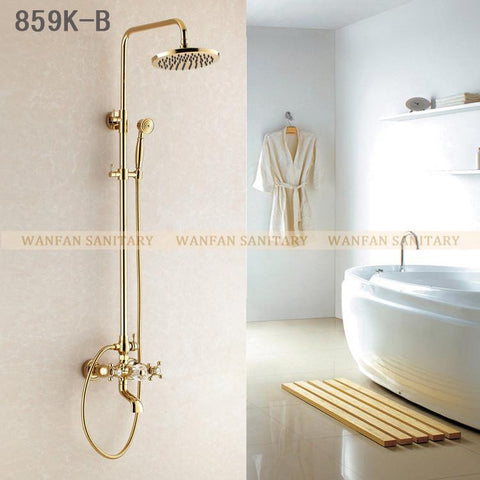 $285.86- Promotion Luxury Gold Brass Shower Faucet Rain Shower HeadTub Faucet Hand Shower Hj859K