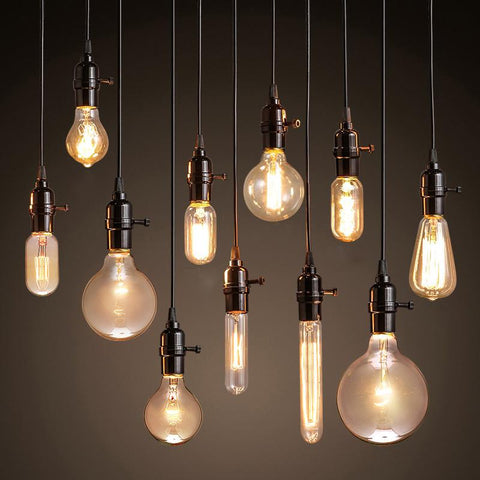 $8.97- Vintage Pendant Lights American Style Lamp Industrial Lighting Loft Dining Decoration Restaurant Bedroom E27 Base Edison Bulbs