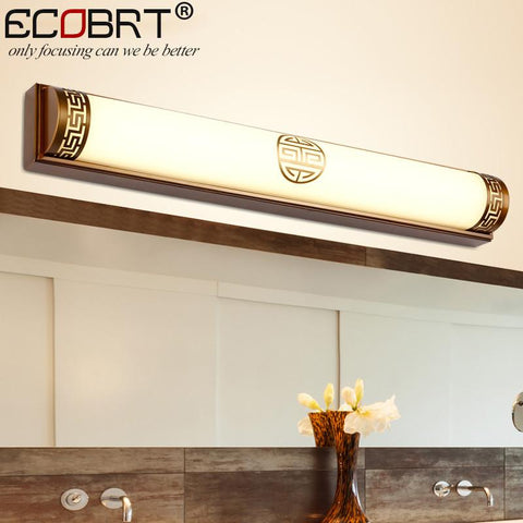 ECOBRT New Arrival Traditional LED Bathroom Lights 20W 24W Chinese Style Wall Lights Fixtures Antique Brass finishing