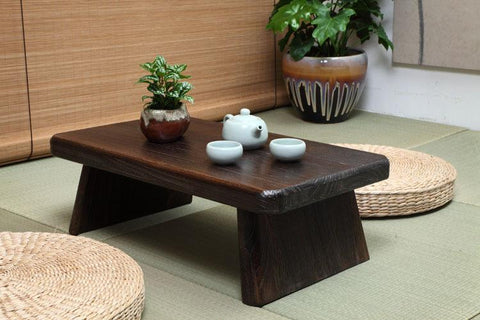 $205.11- Japanese Antique Tea Table Rectangle 60*35Cm Paulownia Wood Traditional Asian Furniture Living Room Low Dinner Floor Table