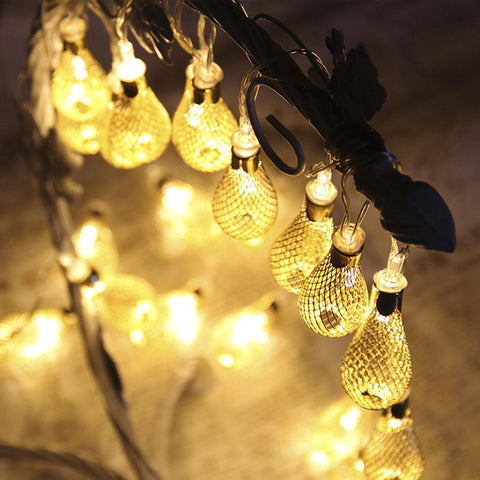 $20.55- 4M Led Fairy String Garland 20Pcs Metal Drip Christmas String Lights Outdoor 8 Lighted Mode 220V Patio Wedding Party Lights