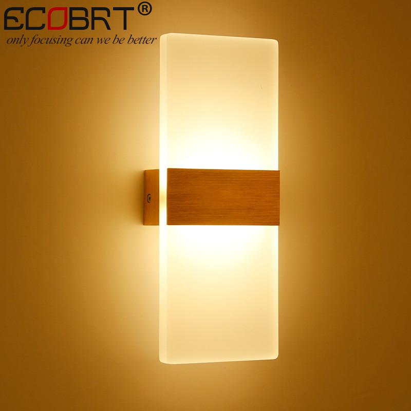 $56.16- Ecobrt Modern 6W Led Wall Lights Bathroom Lighting High Quality Aluminum Base Acrylic Square Wall Lamps In Bedroom Living Room