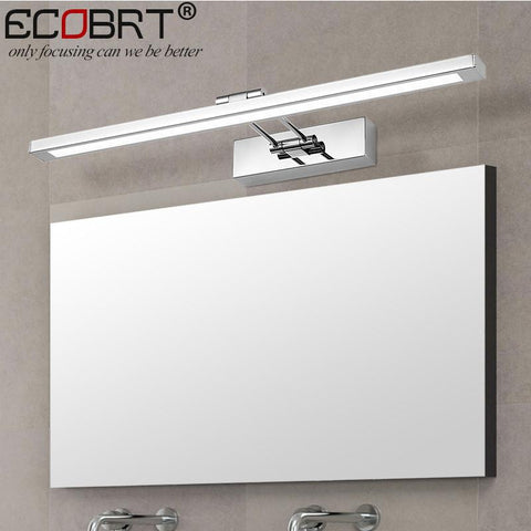 [ECOBRT] Modern Stainless Steel LED Wall Lights with Swing arm Bathroom Sconces Mirror Tube Lighting 8W 12W 16W