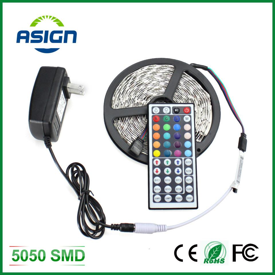 $22.48- Rgb Led Strip Light 5050 5M 300Led Smd Rgb 60Led/M Lamps Dc12V Flexible Light 44Key Ir Remoter 3A Power Lighting 5M/Roll