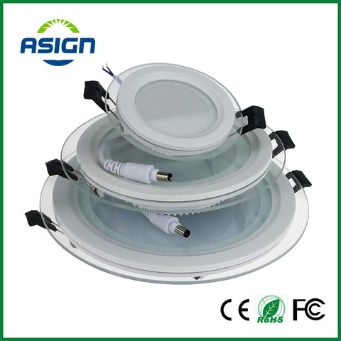 $13.28- Dimmable Led Panel Downlight 6W 12W 18W Round Glass Ceiling Recessed Lights Smd 5730 Warm Cold White Led Panel Light Ac85265V