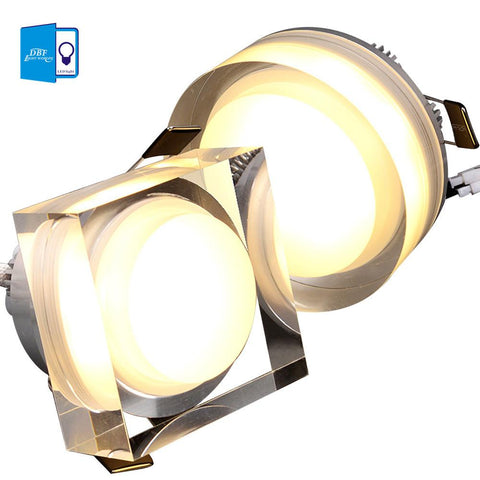 $9.60- [Dbf]Led Crystal Downlight Round/Square 1W 3W 5W 7W Led Ceiling Light 85265V Recessed Lamp Down For Home Decoration
