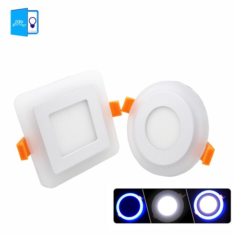 dbfled panel downlight 6w 9w 16w 3 model led panel light double color led ceiling recessed lights fixture indoor spot lights