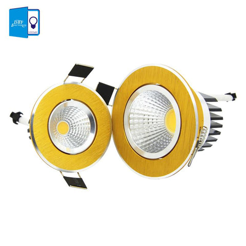 $9.52- [Dbf] Super Bright Recessed Gold Led Dimmable Downlight Cob 5W 7W 9W 12W Led Spot Light Led Decoration Ceiling Lamp Ac 110V 220V