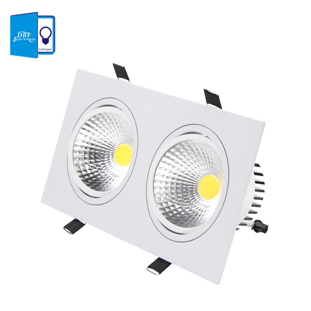 $27.92- [Dbf]Super Bright Recessed Led Dimmable 2 Head Square Downlight Cob 10W 14W 18W 24W Led Spot Light Ceiling Lamp Ac 110V 220V