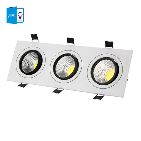 $34.27- [Dbf]Super Bright Recessed Led Dimmable 3 Head Square Downlight Cob 15W 21W 30W 36W Led Spot Light Ceiling Lamp Ac 110V 220V