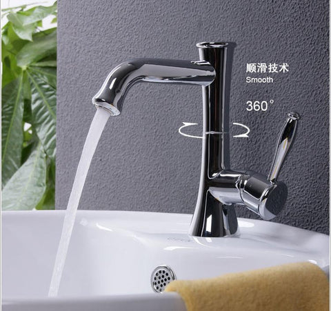 Doodii Contemporary Concise Bathroom Kitchen Faucet Antique Bronze Finish Brass Basin Sink Faucet Single Handle Water Tap