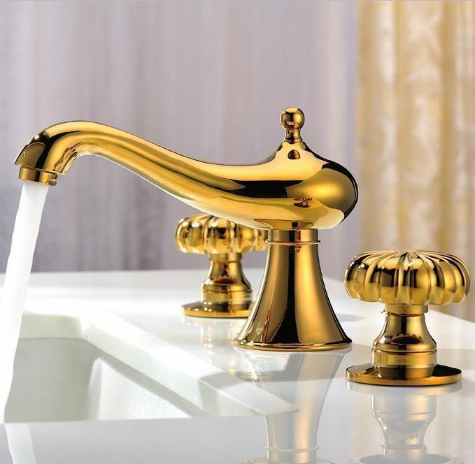 Full Three Hole Basin Faucet Hot Cold Copper Gold Bathroom Counter Basin  Genuine European Hot Shipping