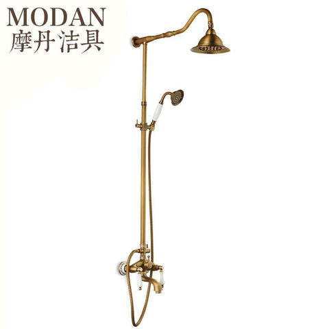 1 set Orange Bathroom Shower Set Brass Chrome Wall Mounted Shower Faucet Water Tap F2432
