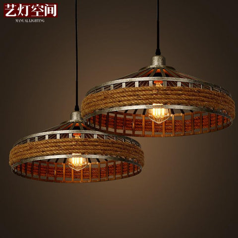 American Country Space Art Lamp Chandelier Retro Living Room Lights Rope Hanging Industrial Garden Restaurant