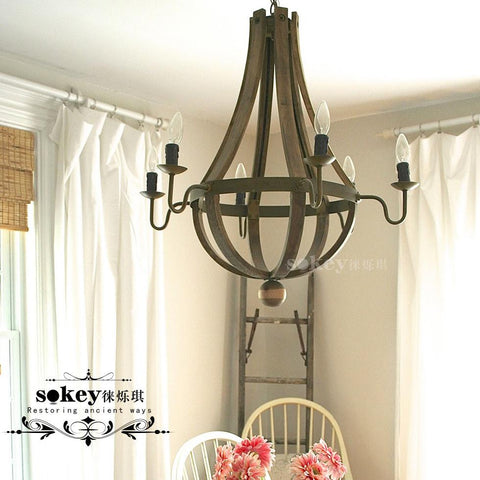 $446.92- Lai Shuo Qi American Country Wood Pendant Personality Dining Room Lamp