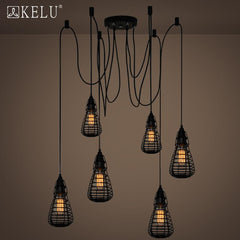 American industrial road lamps can be retro clothing store Coffee hall dining room chandelier bar iron cage