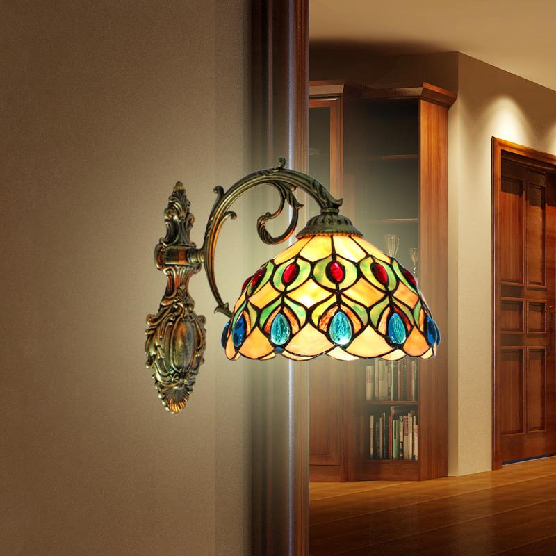 $181.46- Simple Lamp Wall Lamp Shell Peacock Bathroom Mirror Headlight Lamp Wall Lamp Shell European Pastoral Style