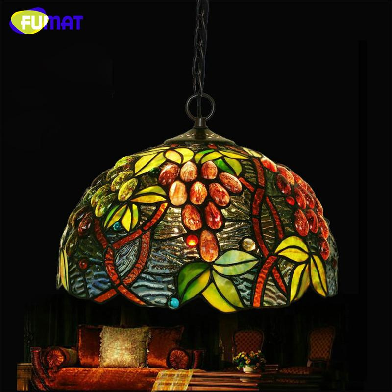 $209.19- European Single Head Pendant Lamp Tiffany Stained Glass Suspension Lamp Creative Art Lamp Grape Version Restaurant Bar Lamp