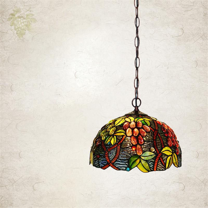$330.17- European Single Head Pendant Lamp Tiffany Stained Glass Suspension Lamp Creative Art Lamp Grape Version Restaurant Bar Lamp