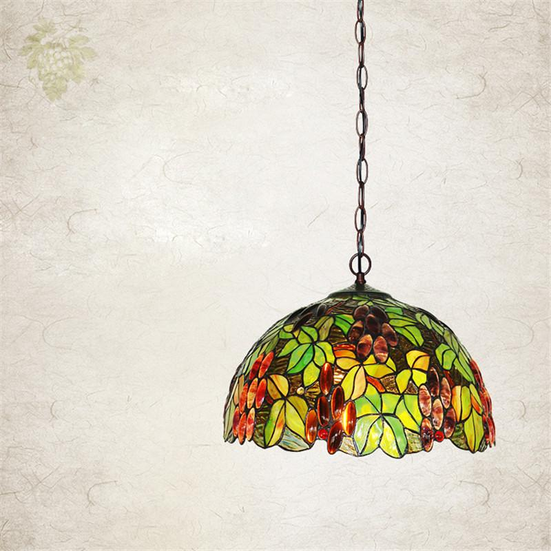 $445.10- European Single Head Pendant Lamp Tiffany Stained Glass Suspension Lamp Creative Art Lamp Grape Version Restaurant Bar Lamp