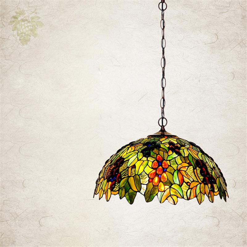 $562.03- European Single Head Pendant Lamp Tiffany Stained Glass Suspension Lamp Creative Art Lamp Grape Version Restaurant Bar Lamp