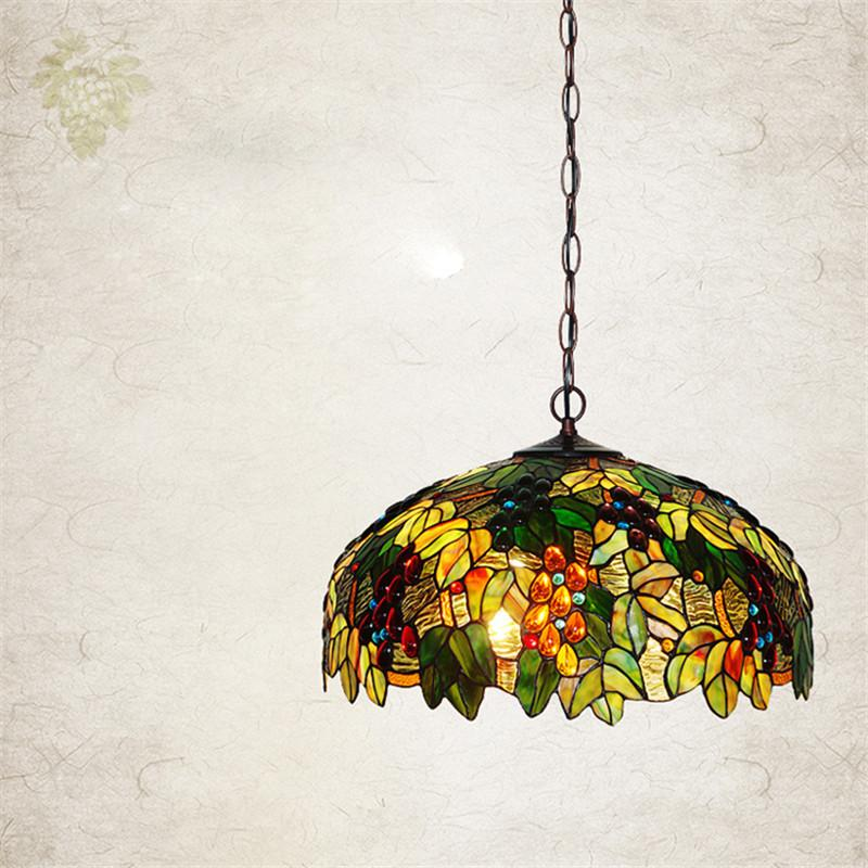 $688.39- European Single Head Pendant Lamp Tiffany Stained Glass Suspension Lamp Creative Art Lamp Grape Version Restaurant Bar Lamp