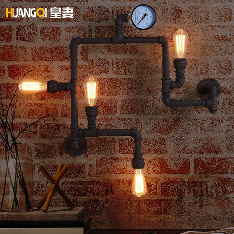 $270.19- The Wife Of The American Village Lighting Industrial Wind Cafe Bar Lamp Decoration Retro Iron Pipe Wall