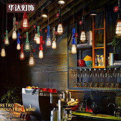 Individual American retro loft industrial Iron Chandelier wind meal living room single head bar pipe rope Chandelier