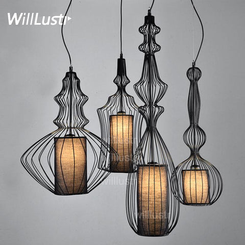 $278.85- Bar Light Elite Spa Pendant Lamp Nordic Modern Minimalist Creative Aristocrat Fabric Suspension Lighting 4 Shapes Black White