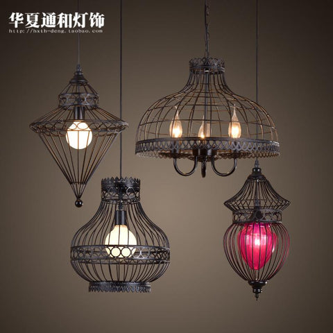 $165.00- American Country Iron Chinese Lamp Nordic European Restaurant Bar Retro Creative Industrial Room Pendant Lights