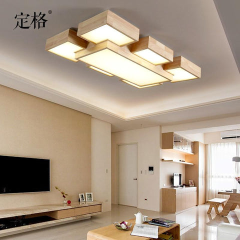 Nordic simple real log rectangle LED living room dining room ceiling ceiling light non - style light