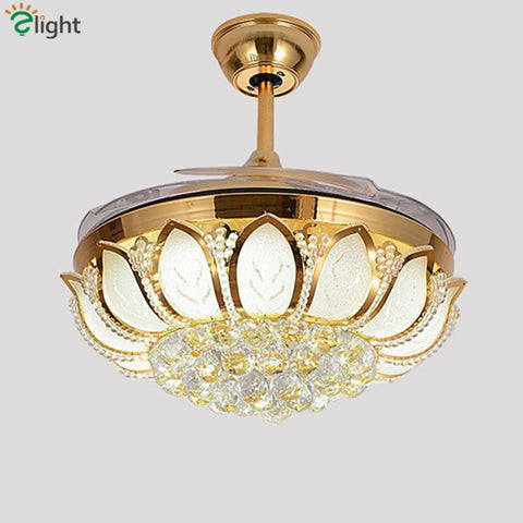 2016 Gold Round Crystal Ceiling Light For Living Room Indoor Lamp W/ Remote Controlled Luminaria Home Decoration