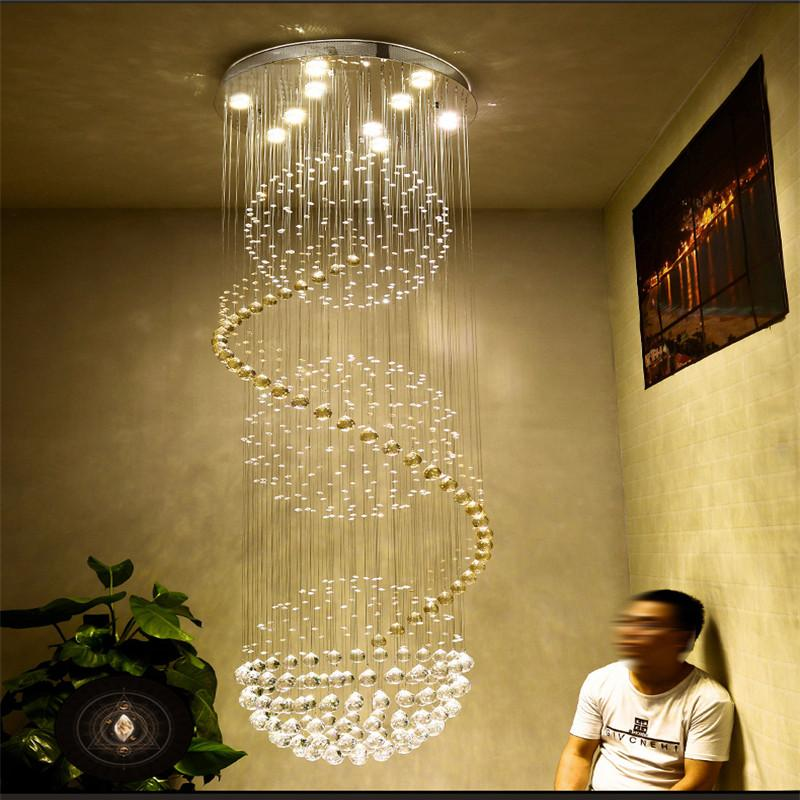 K9 Crystal Stair Led Chandeliers Modern Artistic Spiral Suspension