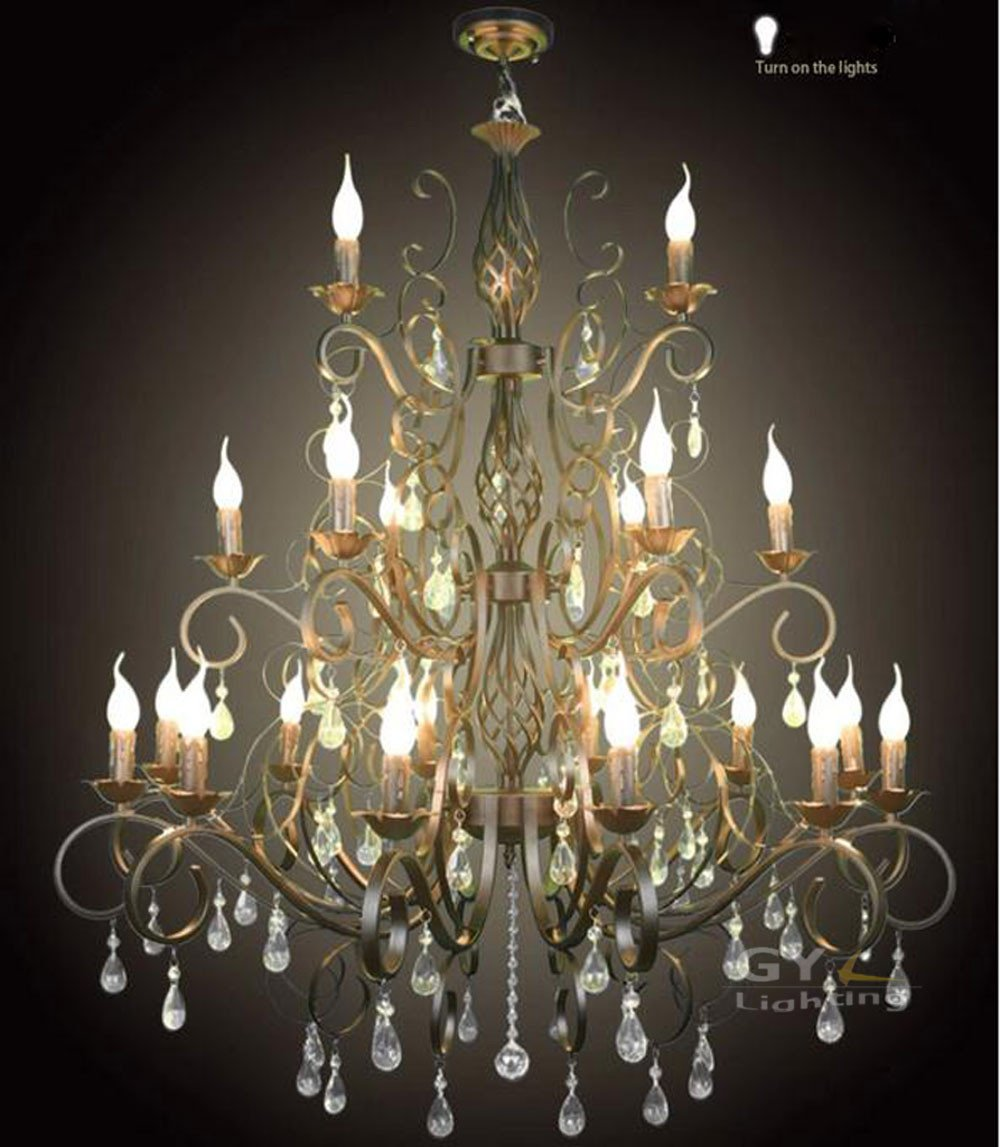 $896.00- Ac100240V 105*107Cm 21Pcs E14 Candle Wrought Iron Chandelier Light Crystal Chandelier Fixtures Pendant Lamps Lustre Decorative
