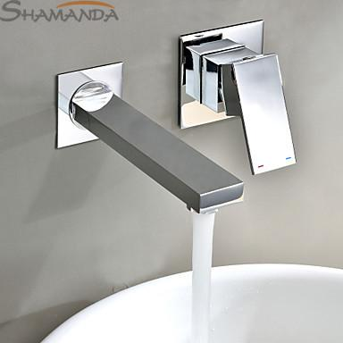 $133.45- Modern Contemporary Single Handle In Wall Mounted Bathroom Solid Brass Chrome In Wall Sink Basin Faucet Mixer2421