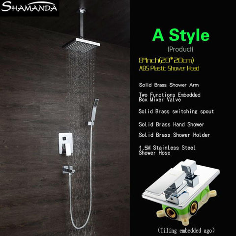 $338.25- Luxury Brass Bath Faucet Mixer InWall Mixer Valve Shower Set W/ Spout Shower Head Ceiling Arm Two Functions Embedded Box