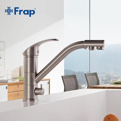 $87.98- HighEnd Brass Body Nickel Brushed Kitchen Faucet Sink Mixer Tap 360 Degree Rotation W/ Water Purification Features F43215