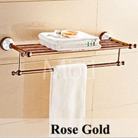 $25.70- Luxury Golden Bathroom Accessories Gold Finish Toilet Paper Holder Towel Bar Shelf Brush Holders Wall Mount Bath Hardware Set