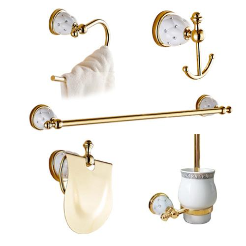 $138.72- Luxury Golden Bathroom Accessories Gold Finish Toilet Paper Holder Towel Bar Shelf Brush Holders Wall Mount Bath Hardware Set